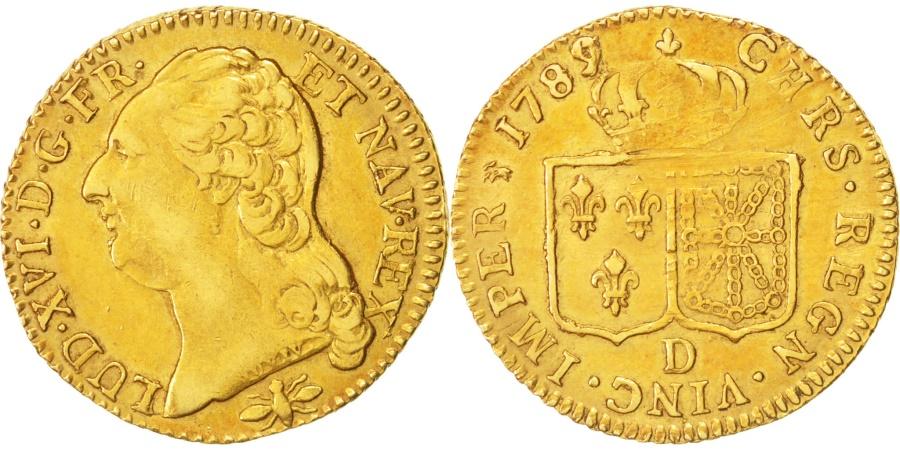 World Coins - France, Louis XVI, Louis d'Or, 1789 D, Lyon, Var. 9/7, Gold, KM:591.5