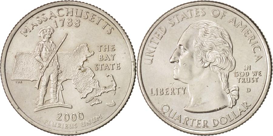 US Coins - United States, State Quarter, 2000, Denver, Massachusetts, KM:305