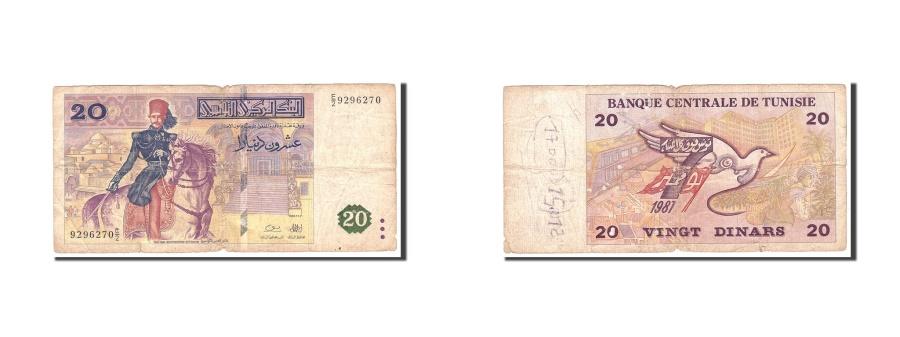 World Coins - Tunisia, 20 Dinars, 1992, 1992-11-07, KM:88, VG(8-10)