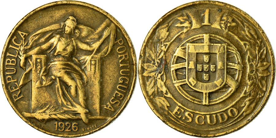 World Coins - Coin, Portugal, Escudo, 1926, , Aluminum-Bronze, KM:576