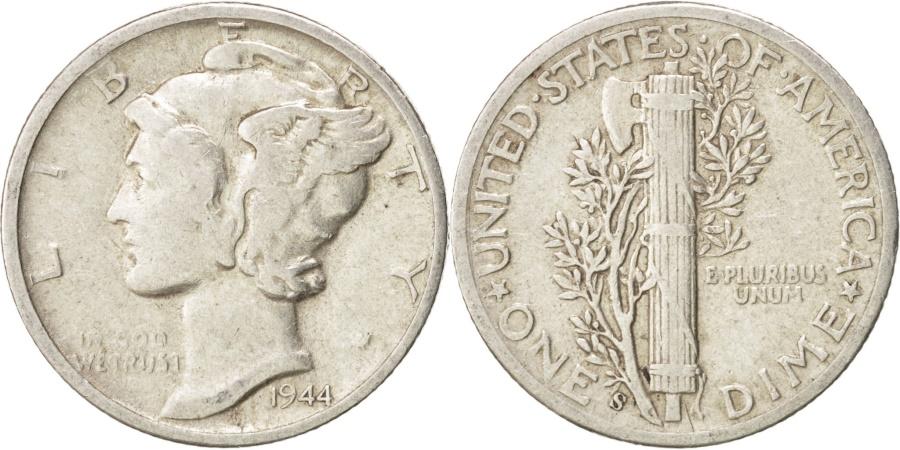 US Coins - United States, Mercury Dime, 1944, San Francisco, , Silver, KM:140