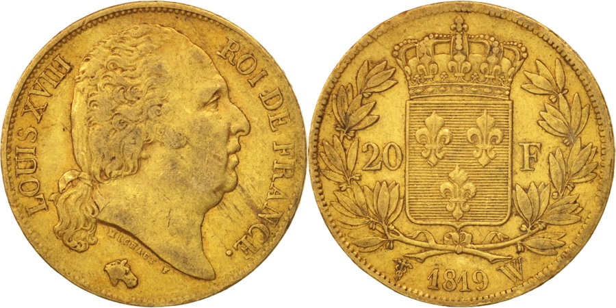 World Coins - France, Louis XVIII, 20 Francs, 1819, Lille, , Gold, KM:712.9