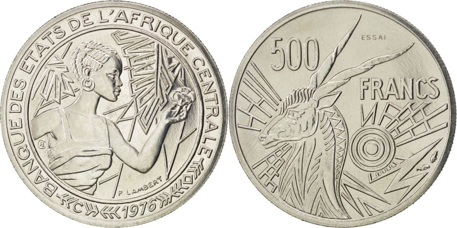 World Coins - CENTRAL AFRICAN STATES, 500 Francs, 1976, Paris, KM #E9, , Nickel, 9.04