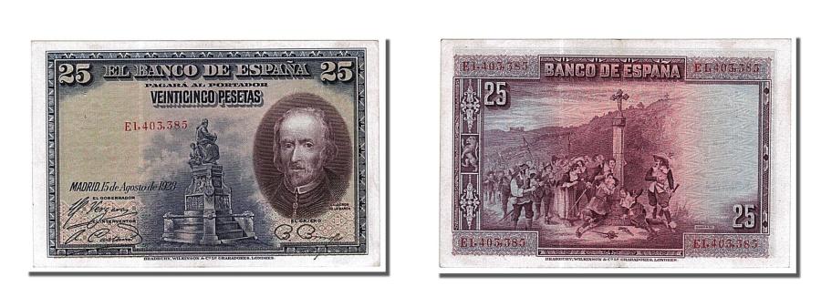 World Coins - Spain, 25 Pesetas, 1928, KM #74b, 1928-08-15, UNC(60-62), E