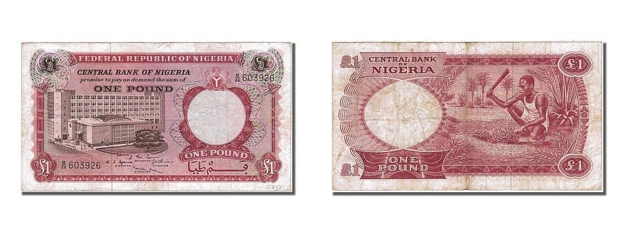 World Coins - Nigeria, 1 Pound, 1967, KM #8, EF(40-45), B/26