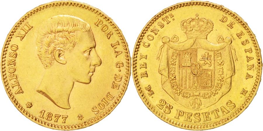 World Coins - Spain, 25 Pesetas, 1877, KM #673, , Gold, 8.05