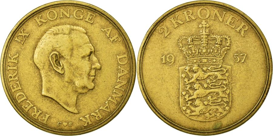 World Coins - Coin, Denmark, Frederik IX, 2 Kroner, 1957, EF(40-45), Aluminum-Bronze, KM:838.2