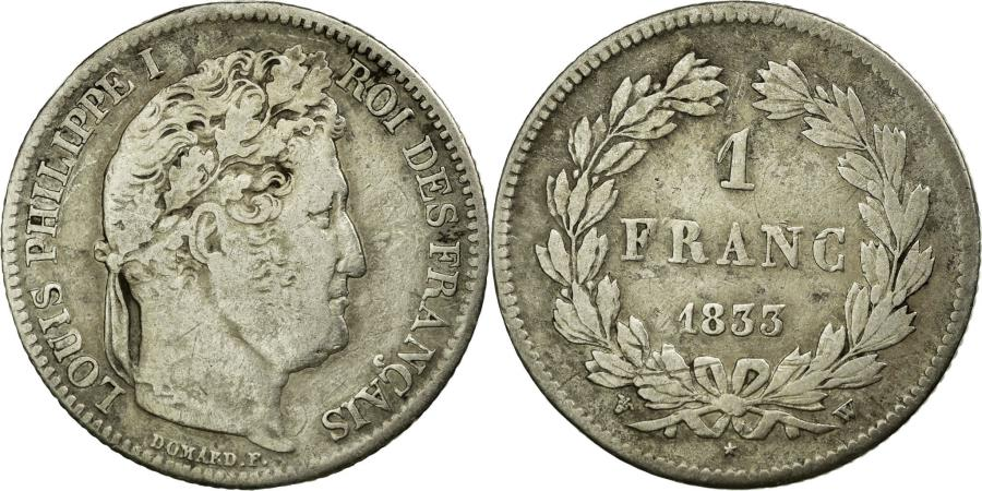World Coins - Coin, France, Louis-Philippe, Franc, 1833, Paris, VF(30-35), Silver, KM:748.1