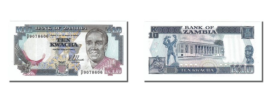 World Coins - Zambia, 10 Kwacha, 1989, KM #31a, UNC(65-70), A/F