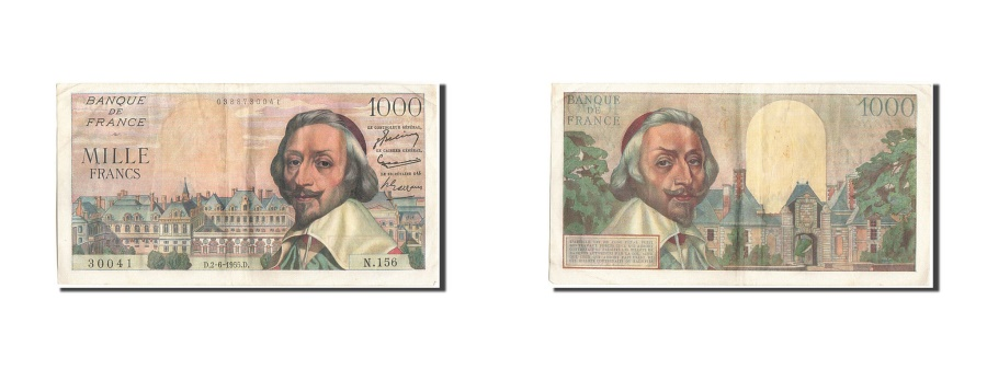 World Coins - France, 1000 Francs, 1 000 F 1953-1957 ''Richelieu'', 1955, KM:134a, 1955-06-...