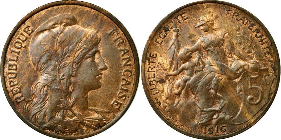 World Coins - Coin, France, Dupuis, 5 Centimes, 1916, AU(55-58), Bronze, KM:842, Gadoury:165