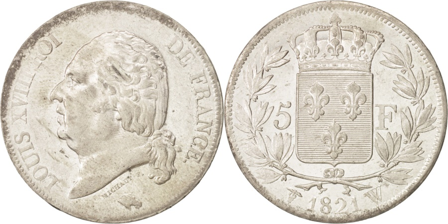 World Coins - France, Louis XVIII, 5 Francs, 1821, Lille, Silver, KM:711.13