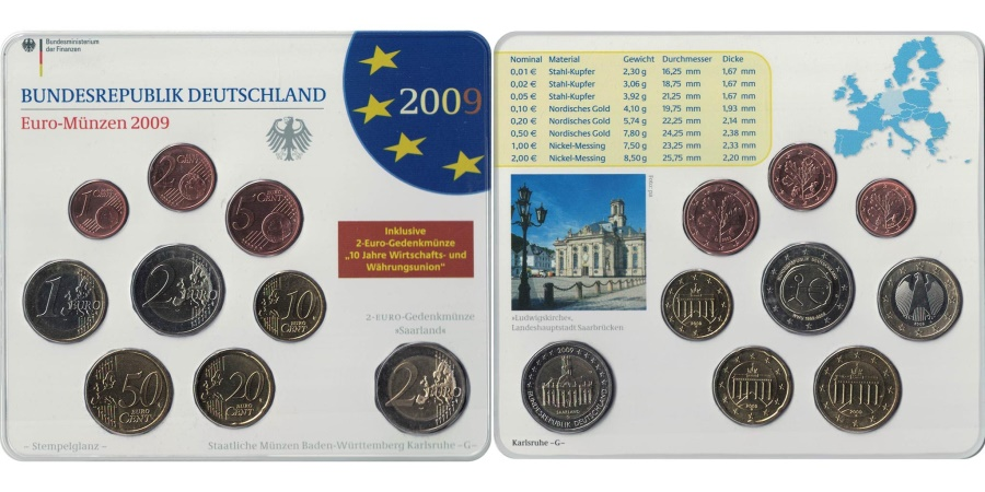 World Coins - Germany, 5 x Euro Set of 9 coins, 5 Mints, 2009 ADFGJ