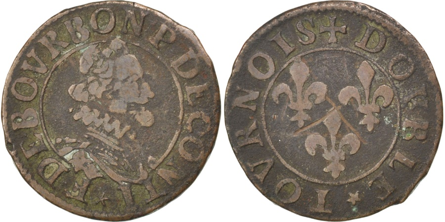 World Coins - FRENCH STATES, 2 Deniers, Tournois, KM #5, , Copper, CGKL #666, 2.82