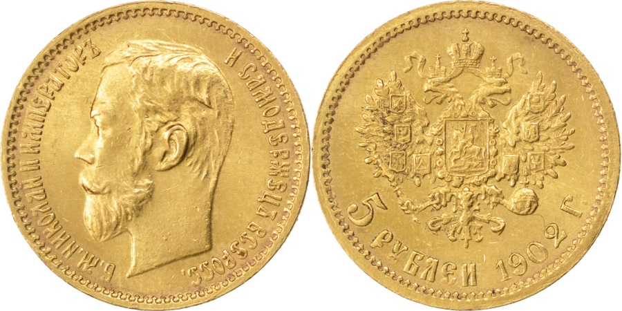 World Coins - RUSSIA, 5 Roubles, 1902, St. Petersburg, KM #62, , Gold, 4.31