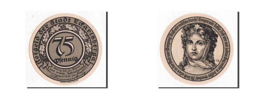 World Coins - Germany, Eckartsberga Thur. Stadt, 75 Pfennig, 1921, AU(55-58), Mehl #305.4