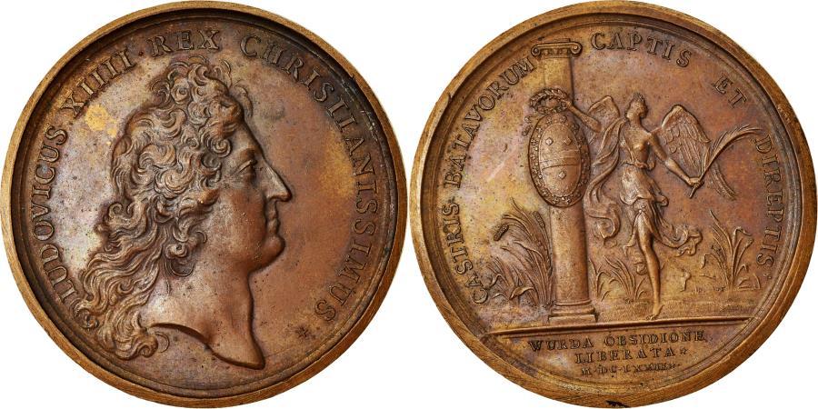 World Coins - France, Medal, Louis XIV, Levée du Siège de Woerden, History, 1672, Mauger