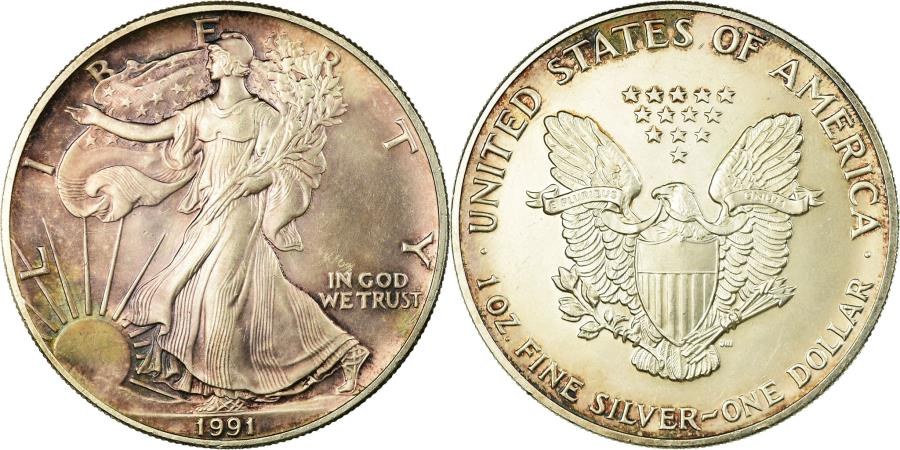 US Coins - Coin, United States, Dollar, 1991,U.S. Mint,Philadelphia,,Silver,KM 273