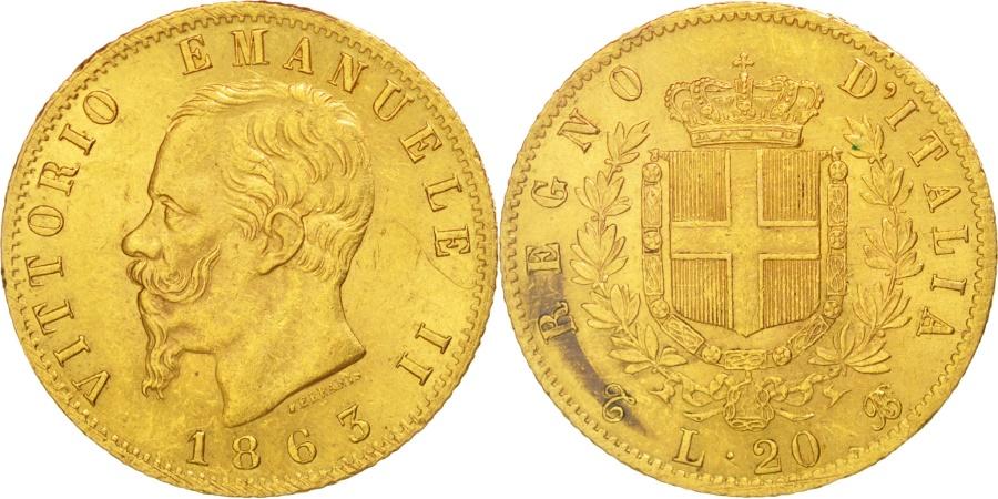 Italy 20 lire 1863 torino km 10 1 au 55 58 gold for Coin torino