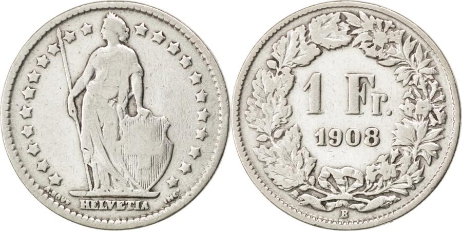World Coins - SWITZERLAND, Franc, 1908, Bern, KM #24, , Silver, 23.2, 4.84