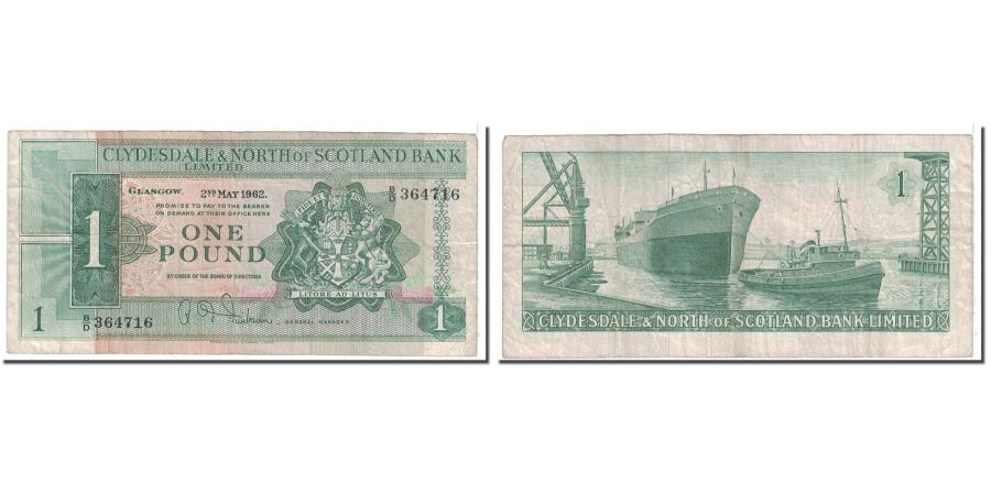 World Coins - Banknote, Scotland, 1 Pound, 1962, 1962-05-02, KM:195a, VF(20-25)