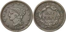 Us Coins - Coin, United States, Braided Hair Cent, 1842, Large date, AU(55-58), KM 67