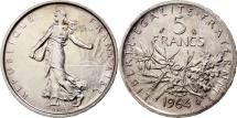 France, Semeuse, 5 Francs, 1964, Paris, MS(63), Silver, KM:926, Gadoury:770