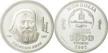 World Coins - Mongolia, 1000 Tugrik, Chinggis Khan, 2002, MS(65-70), Silver, KM:199