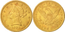 Us Coins - United States,Coronet Head,$10,1906,U.S.Denver,Gold,AU(50-53),KM 102