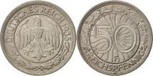 GERMANY, THIRD REICH, 50 Reichspfennig, 1935, Stuttgart, MS(63), Aluminum, KM:87
