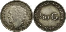 World Coins - Curacao, 1/10 Gulden, 1948, EF(40-45), Silver, KM:48