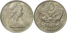 World Coins - New Zealand, Elizabeth II, 10 Cents, 1967, MS(63), Copper-nickel, KM:35