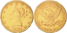 Us Coins - United States, Coronet Head, $10, 1887, San Francisco, EF(40-45), Gold, KM:102