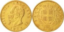 Italy, Vittorio Emanuele II, 20 Lire, 1874, Rome, MS(63), Gold, KM:10.2
