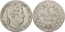 France, Louis-Philippe, 5 Francs, 1840, Lille, VF(20-25), Silver, KM:749.13
