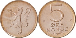 World Coins - NORWAY, 5 Ore, 1982, KM #415, , Bronze, 19, 2.97