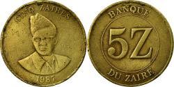 World Coins - Coin, Zaire, 5 Zaïres, 1987, , Brass, KM:14