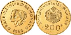 Ancient Coins - Coin, Monaco, Grace et Rainier III, 200 Francs, 1966, Paris, , Gold, KM:M2