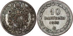 World Coins - Coin, ITALIAN STATES, PAPAL STATES, Pius IX, 10 Baiocchi, 1863, Roma,