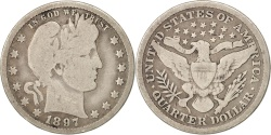 Us Coins - United States, Barber Quarter, 1897, New Orleans, F, KM:114