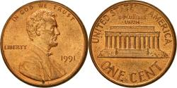 Us Coins - Coin, United States, Lincoln Cent, Cent, 1991, U.S. Mint, Philadelphia