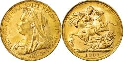 World Coins - Coin, Australia, Victoria, Sovereign, 1901, Melbourne, , Gold, KM:13