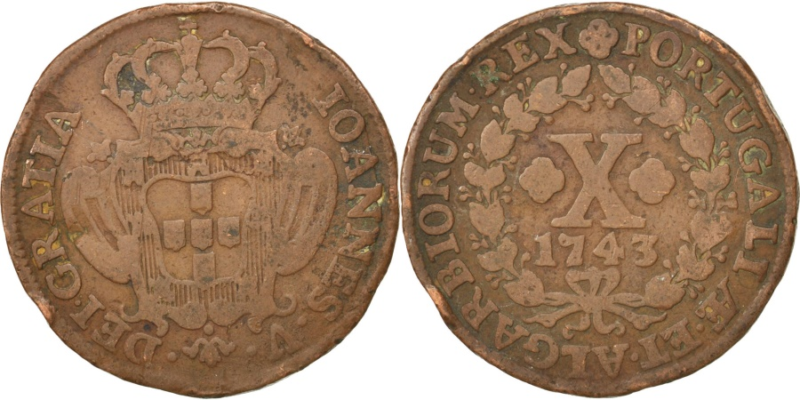 World Coins - PORTUGAL, 10 Reis, X; 1/2 Vinten, 1743, KM #227, , Copper, 11.48