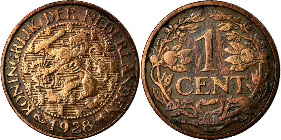 World Coins - Coin, Netherlands, Wilhelmina I, Cent, 1928, EF(40-45), Bronze, KM:152