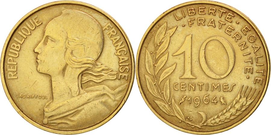 World Coins - France, Marianne, 10 Centimes, 1964, Paris, , Aluminum-Bronze, KM:929