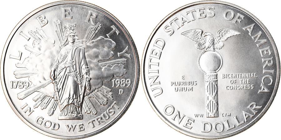 US Coins - Coin, United States, Bicentenaire du Congrès, Dollar, 1989, U.S. Mint, Denver