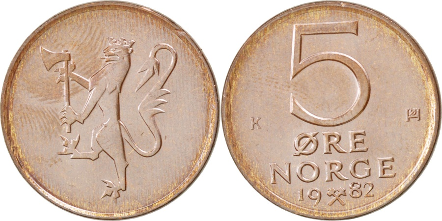 World Coins - NORWAY, 5 Ore, 1982, KM #415, , Bronze, 19, 2.97