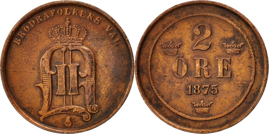 World Coins - Sweden, Oscar II, 2 Öre, 1875, , Bronze, KM:735