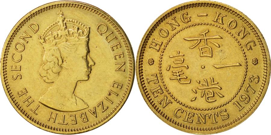 World Coins - Hong Kong, Elizabeth II, 10 Cents, 1973, , Nickel-brass, KM:28.3