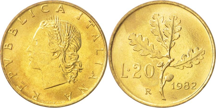 World Coins - Italy, 20 Lire, 1982, Rome, , Aluminum-Bronze, KM:97.2